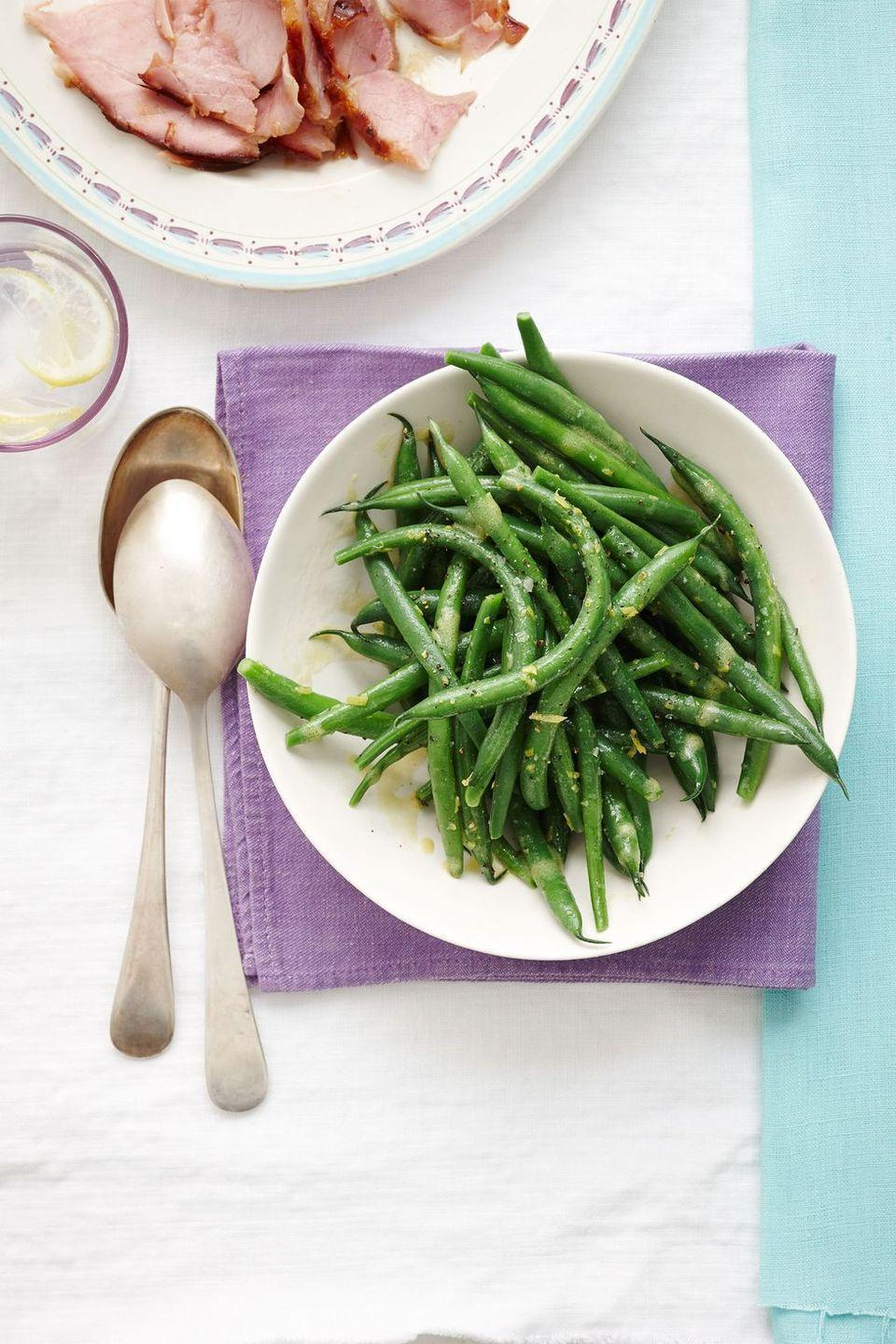 """<p>The secret to great green beans? Don't overcook them! Be sure they still taste fresh and maintain a little bit of crunch.</p><p><em><a href=""""https://www.goodhousekeeping.com/food-recipes/a15650/green-beans-lemon-vinaigrette-recipe-wdy0414/"""" rel=""""nofollow noopener"""" target=""""_blank"""" data-ylk=""""slk:Get the recipe for Green Beans with Lemon Vinaigrette »"""" class=""""link rapid-noclick-resp"""">Get the recipe for Green Beans with Lemon Vinaigrette »</a></em></p>"""