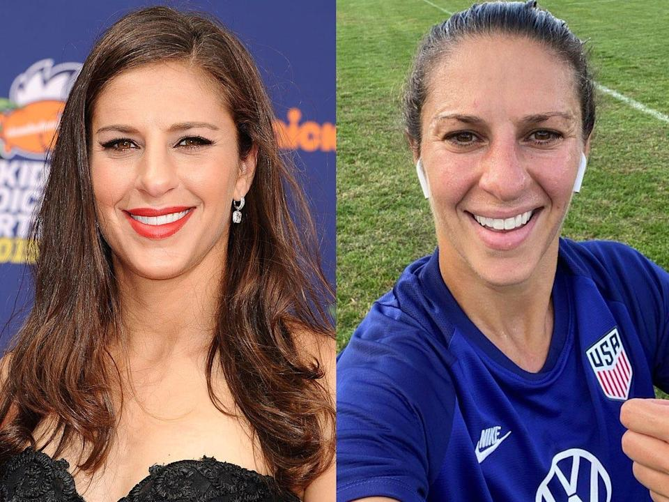 Carli Lloyd with makeup (left) and the athlete without makeup (right).