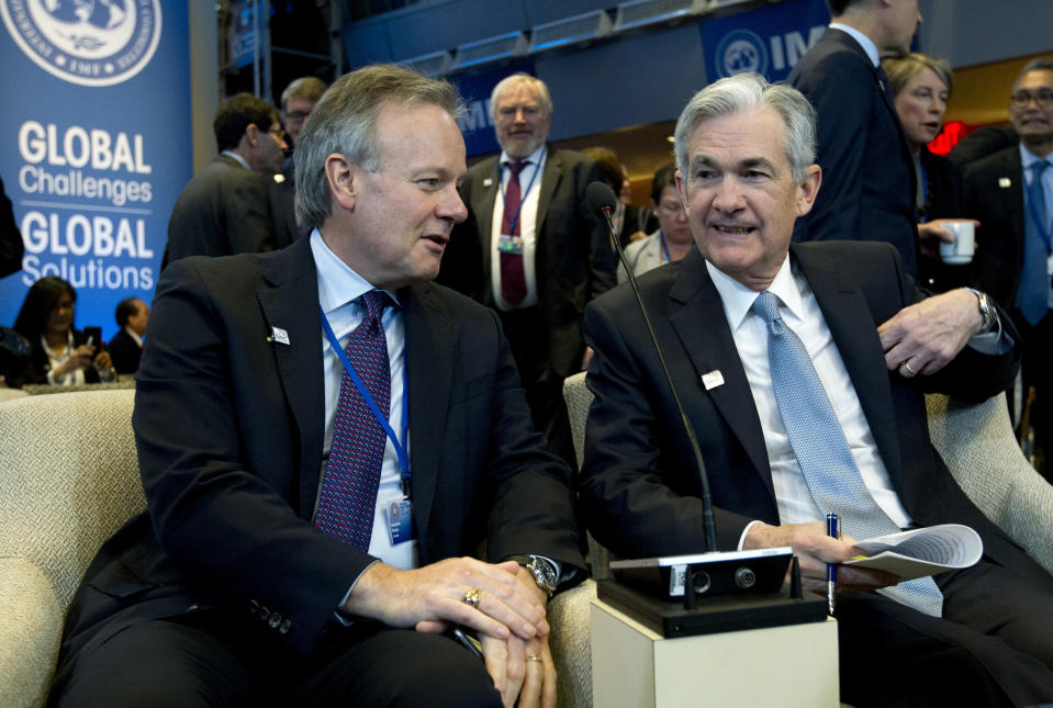 Federal Reserve Chairman Jerome Powell and Bank of Canada Governor Stephen Poloz attended the International Monetary and Financial Committee (IMFC) conference during the World Bank/IMF Spring Meetings, in Washington, Saturday, April 21, 2018. Rate hikes seemed much more certain then. (AP Photo/Jose Luis Magana)