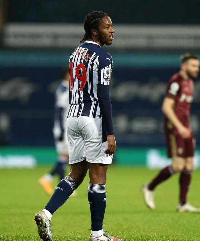 West Brom's Romaine Sawyers reacts after scoring an own goal