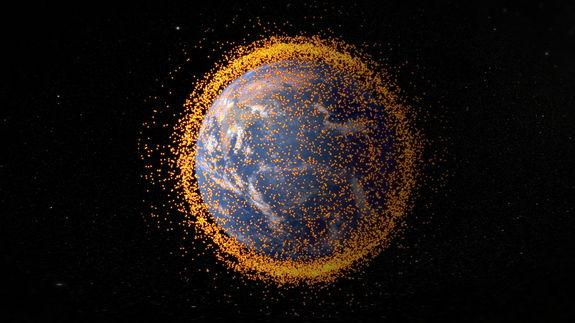 This NASA graphic depicts the amount of space junk currently orbiting Earth. The debris field is based on data from NASA's Orbital Debris Program Office. Image released on May 1, 2013.