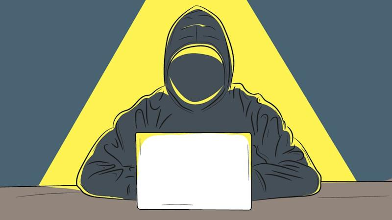 Illustration of a shadowy figure in a hoodie at a computer in a pool of light