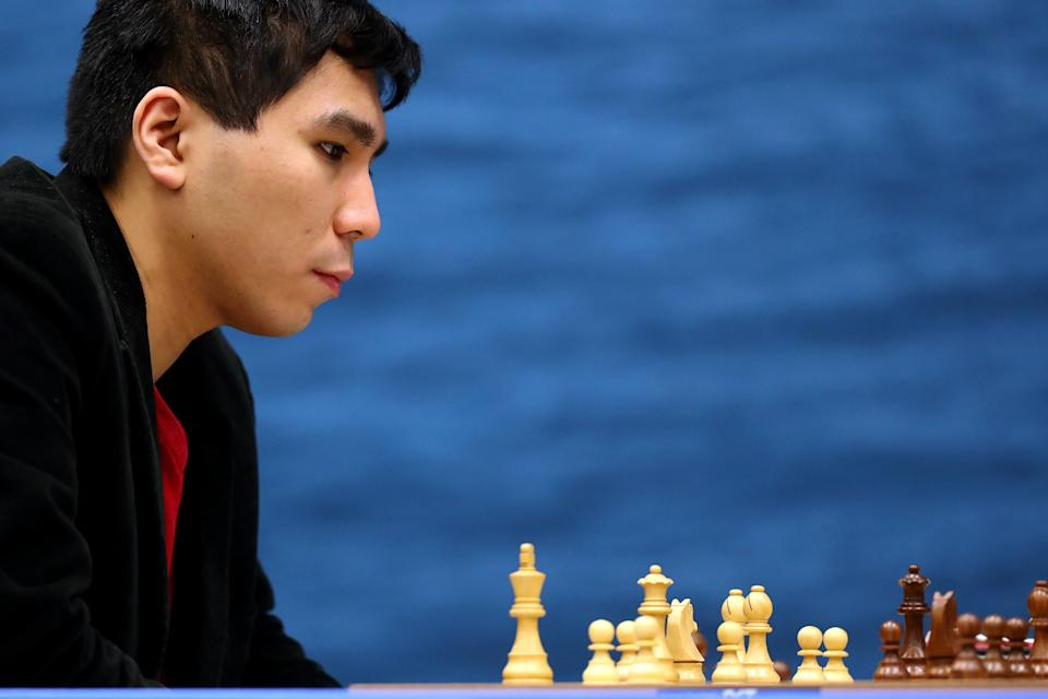 KATWIJK AAN ZEE, NETHERLANDS - JANUARY 14: Wesley So of USA competes against Alireza Firouzja of FIDE and Iran during the 82nd Tata Steel Chess Tournament held in Dorpshuis De Moriaan on January 14, 2020 in Wijk aan Zee, Netherlands. (Photo by Dean Mouhtaropoulos/Getty Images)