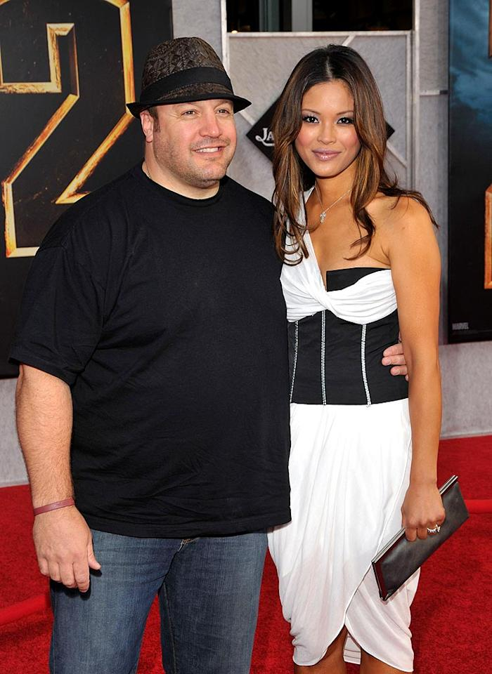 """Funnyman Kevin James, escorted by his beautiful wife Steffania De La Cruz, attempted to dress up his frumpy look with a fedora. Lester Cohen/<a href=""""http://www.wireimage.com"""" target=""""new"""">WireImage.com</a> - April 26, 2010"""