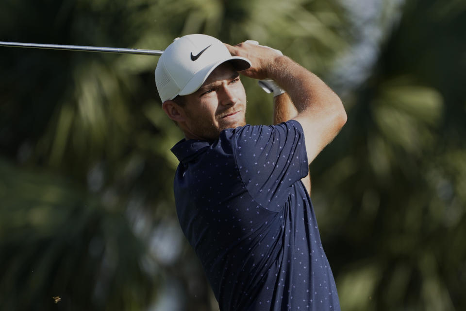 Aaron Wise hits from the seventh tee during the second round of the Honda Classic golf tournament, Friday, March 19, 2021, in Palm Beach Gardens, Fla. (AP Photo/Marta Lavandier)