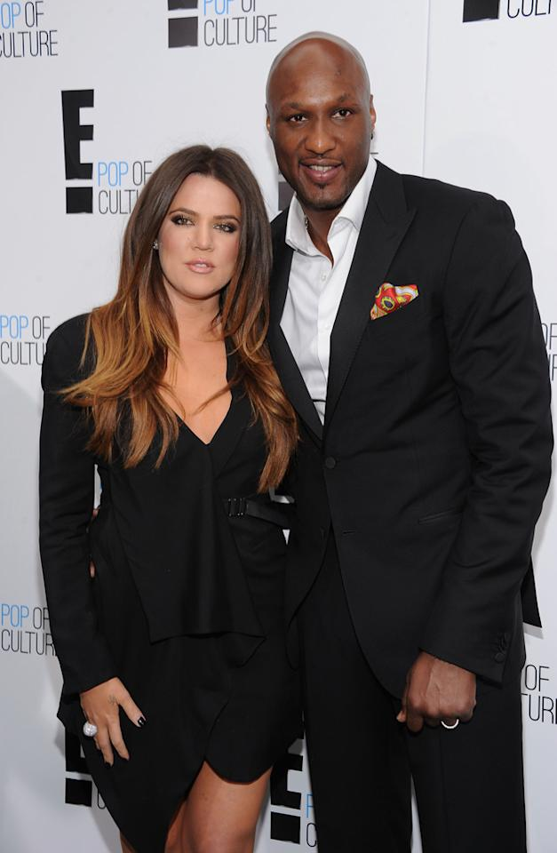 "Khloe Kardashian Odom and Lamar Odom (""<a href=""http://tv.yahoo.com/keeping-up-with-the-kardashians/show/42221"">Keeping Up With the Kardashians</a>"") attend E!'s 2012 Upfront event at Gotham Hall on April 30, 2012 in New York City."