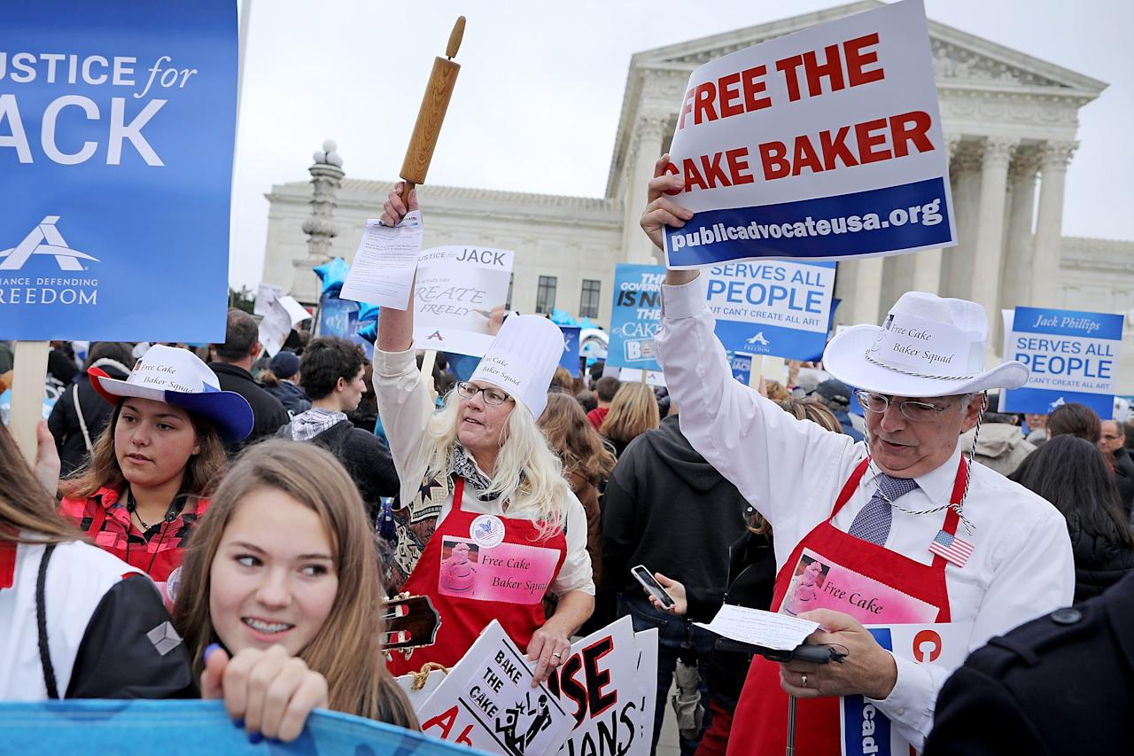 <p>Demonstrators rally in front of the Supreme Court building on the day the court is to hear the case Masterpiece Cakeshop v. Colorado Civil Rights Commission, Dec. 5, 2017 in Washington. (Photo: Chip Somodevilla/Getty Images) </p>