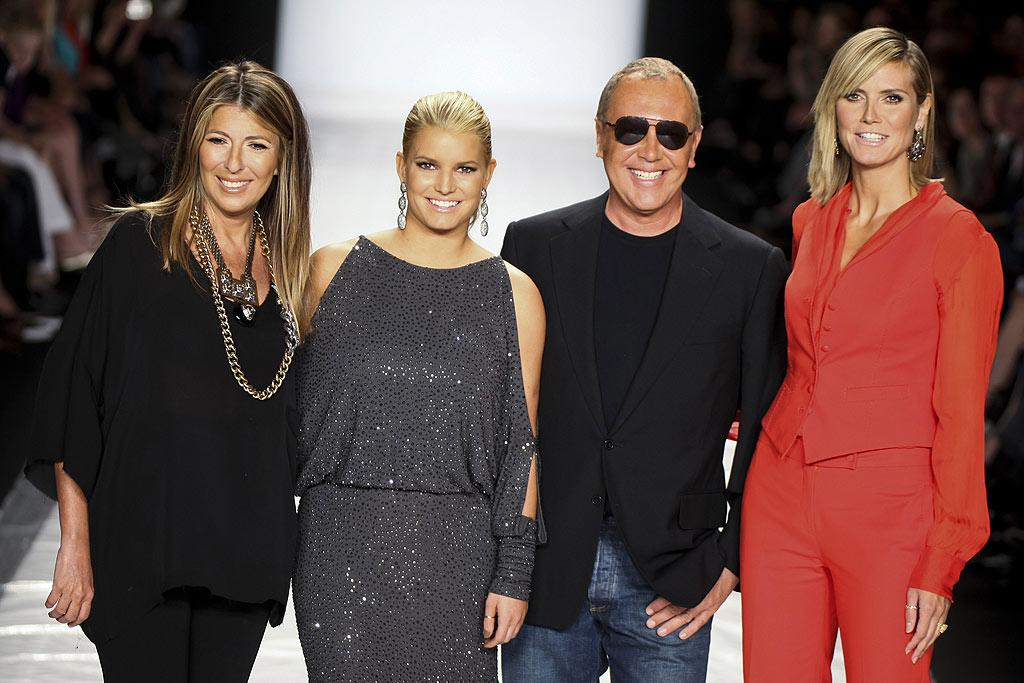 "At the ""Project Runway"" show, judges Nina Garcia, Michael Kors, and Heidi Klum gathered around finale guest judge Jessica Simpson. Fans can catch the curvaceous star offering her expertise on the reality hit in late October. Thomas Concordia/<a href=""http://www.wireimage.com"" target=""new"">WireImage.com</a> - September 9, 2010"