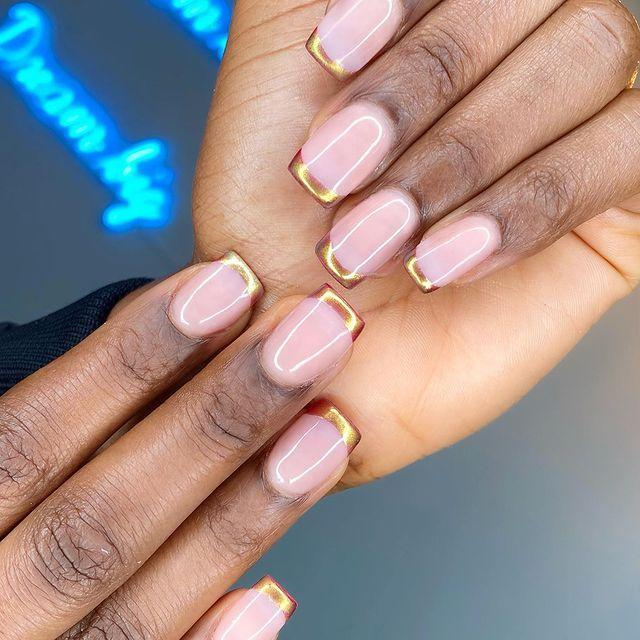 """<p>Level up your manicure with high-shine gold tip.</p><p><a href=""""https://www.instagram.com/p/B9bf9NjAqmI/"""" rel=""""nofollow noopener"""" target=""""_blank"""" data-ylk=""""slk:See the original post on Instagram"""" class=""""link rapid-noclick-resp"""">See the original post on Instagram</a></p>"""