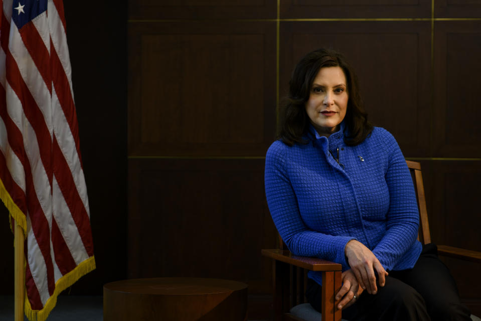 LANSING, MICHIGAN - May 18, 2020: Michigan Governor Gretchen Whitmer at the Romney Building where her office is located in Lansing, Mich., on May 18, 2020. (Brittany Greeson for The Washington Post via Getty Images)