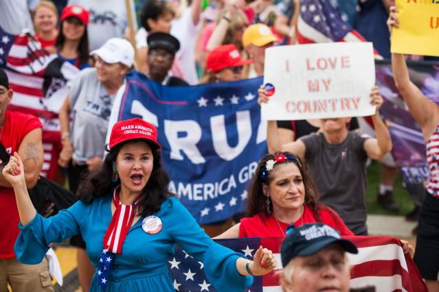 "<p>Demonstrators wave national flags and placards during the pro-Trump 'Mother of All Rallies' on the National Mall in Washington on Sept. 16, 2017. Supporters of President Donald Trump gathered in the US capital to show support of ""free-speech"" dubbed the Mother of All Rallies. (Photo: Zach Gibson/AFP/Getty Images) </p>"