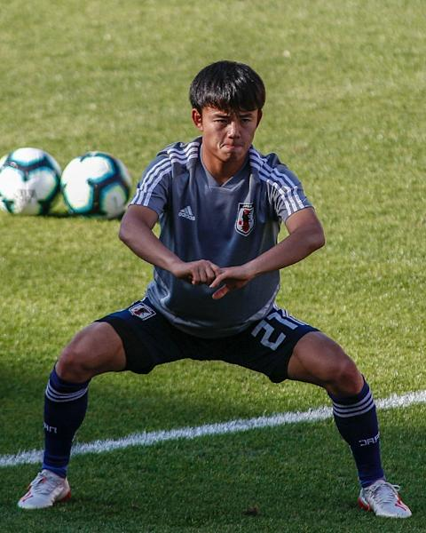Takefusa Kubo, an 18-year-old who has just joined Real Madrid, prepared in Sao Paulo on Saturday for Japan second Copa America campaign (AFP Photo/Miguel SCHINCARIOL)