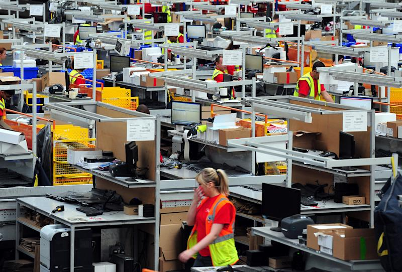 A general view of workers in the ASOS distribution centre near Barnsley, South Yorkshire. (Photo by Rui Vieira/PA Images via Getty Images)