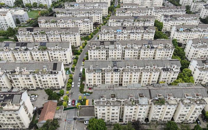 This aerial photo taken on Aug 3, 2021 shows a restricted residential area due to Covid-19 in Yangzhou, in China's eastern Jiangsu province - STR/AFP/Getty