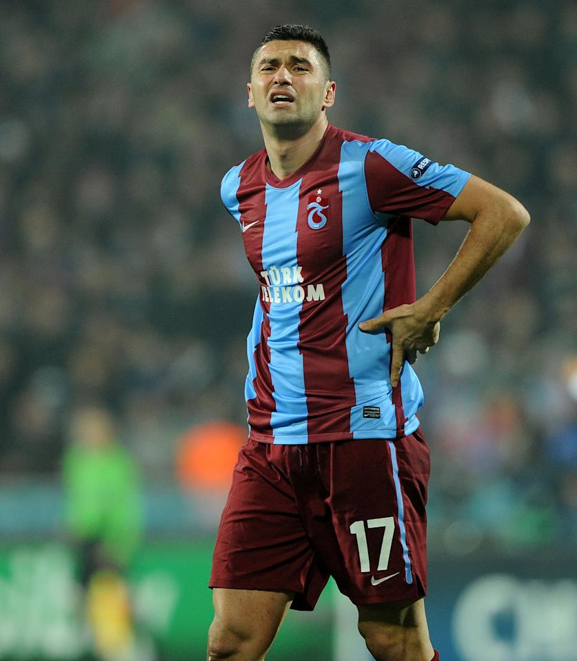 Trabzonspor's Burak Yilmaz reacts as he misses a goal opportunity during their UEFA Champions League group B soccer match against Inter Milan in Trabzon, Turkey, Tuesday, Nov. 22, 2011. (AP Photo)