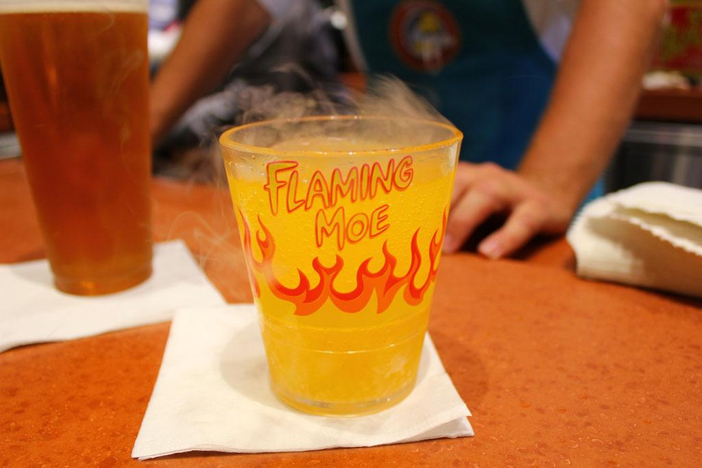 This isn't actually on fire or alcoholic. Bad for authenticity, good for lowering the rate of theme-park-related injuries.