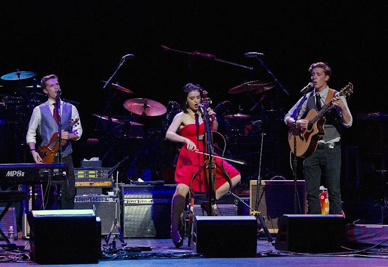 This image released by New York University shows NYU Steinhardt student songwriters, from left, A.J. Smith, of Washington, Tiger Darrow, of Dallas, and Peter Wise open for the Eagles at Inaugural Vision Award Gala, Thursday, Nov. 15, 2012 in New York. The gala honored the Eagles for their distinctive musical vision. (AP Photo/New York University, Mathieu Asselin)