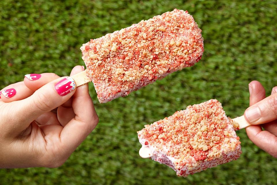"These brightly hued pops pack a double dose of berry flavor from their creamy centers and buttery crumb coatings. Even better, this recipe requires only four ingredients. <a href=""https://www.epicurious.com/recipes/food/views/strawberry-shortcake-ice-cream-bars-56389962?mbid=synd_yahoo_rss"" rel=""nofollow noopener"" target=""_blank"" data-ylk=""slk:See recipe."" class=""link rapid-noclick-resp"">See recipe.</a>"