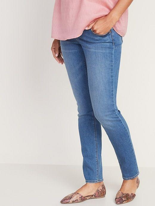 """<p><strong>Old Navy</strong></p><p>oldnavy.gap.com</p><p><strong>$39.99</strong></p><p><a href=""""https://go.redirectingat.com?id=74968X1596630&url=https%3A%2F%2Foldnavy.gap.com%2Fbrowse%2Fproduct.do%3Fpcid%3D1042532%26pid%3D485087&sref=https%3A%2F%2Fwww.goodhousekeeping.com%2Fchildrens-products%2Fg34498315%2Fbest-maternity-jeans%2F"""" rel=""""nofollow noopener"""" target=""""_blank"""" data-ylk=""""slk:Shop Now"""" class=""""link rapid-noclick-resp"""">Shop Now</a></p><p>If you struggle to find maternity jeans for a taller frame,<strong> Old Navy has <a href=""""https://go.redirectingat.com?id=74968X1596630&url=https%3A%2F%2Foldnavy.gap.com%2Fproducts%2Flong-maternity-jeans.jsp&sref=https%3A%2F%2Fwww.goodhousekeeping.com%2Fchildrens-products%2Fg34498315%2Fbest-maternity-jeans%2F"""" rel=""""nofollow noopener"""" target=""""_blank"""" data-ylk=""""slk:tons of long-legged options"""" class=""""link rapid-noclick-resp"""">tons of long-legged options</a> with a 32"""" inseam</strong> and are available in pant sizes 0-20. This pair in particular has a light wash and straight leg fit to give your lower legs more wiggle room, plus a low-rise panel that sits just in the front of the jeans. It's also available in regular and short sizes and is on the lower end of maternity jean pricing.</p>"""