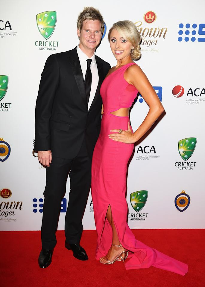 SYDNEY, AUSTRALIA - JANUARY 20:  Steve Smith and Danielle Willis arrive at the 2014 Allan Border Medal at Doltone House  on January 20, 2014 in Sydney, Australia.  (Photo by Don Arnold/WireImage)