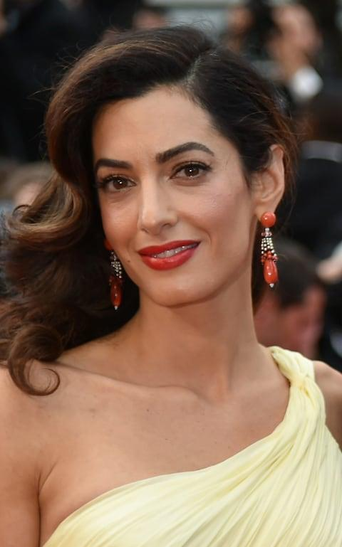 Amal Clooney wears red lipstick