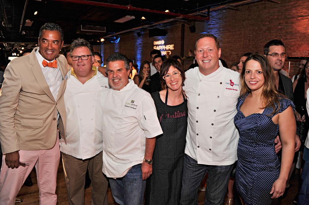 "Herbert Wilson, David Burke, Richard Sandoval, Jenn Louis, Franklin Becker, and Sue Zemanick attend the ""Top Chef Masters"" Season 5 Premiere Tasting Event presented by Chase Sapphire Preferred at 82 Mercer on Tuesday, July 16, 2013 in New York."