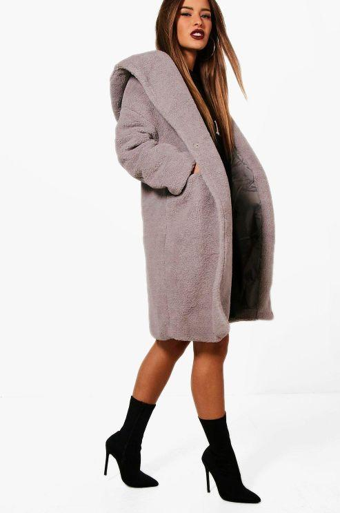 "This mid-length lavender teddy coat has front snap closures, side pockets and an oversized hood. <strong><a href=""https://fave.co/2UQ9Arh"" target=""_blank"" rel=""noopener noreferrer"">Find it for $40 at Boohoo</a></strong>."