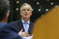 European Commission's Head of Task Force for Relations with the United Kingdom Michel Barnier reports on last week European summit during plenary session at the European Parliament in Brussels, Wednesday, Oct. 21, 2020. (Olivier Hoslet, Pool via AP)