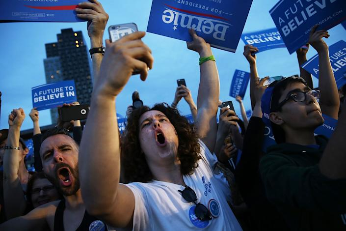 Bernie Sanders fans, excited about the future. (Photo by Spencer Platt/Getty Images)