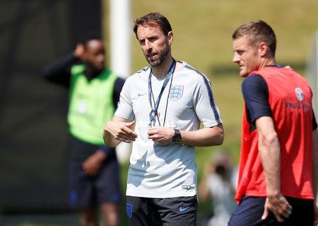 Soccer Football - England Training - St. George's Park, Burton Upon Trent, Britain - May 22, 2018 England manager Gareth Southgate and Jamie Vardy during training Action Images via Reuters/Carl Recine