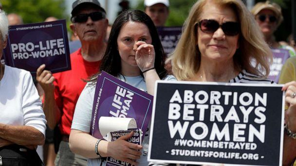 PHOTO: Anti-abortion supporters gather outside the Planned Parenthood clinic Tuesday, June 4, 2019, in St. Louis. (Jeff Roberson/AP, FILE)