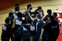 Chicago Bulls players wear shirts that honor Dr. Martin Luther King Jr., before an NBA basketball game against the Houston Rockets, Monday, Jan. 18, 2021, in Chicago. (AP Photo/Matt Marton)