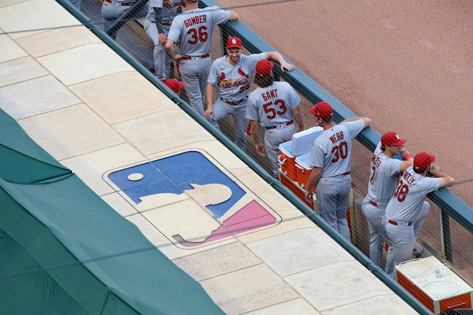 MINNEAPOLIS, MINNESOTA - JULY 28: The St. Louis Cardinals dugout is seen before the home opener game at Target Field on July 28, 2020 in Minneapolis, Minnesota. The Twins defeated the Cardinals 6-3. (Photo by Hannah Foslien/Getty Images)