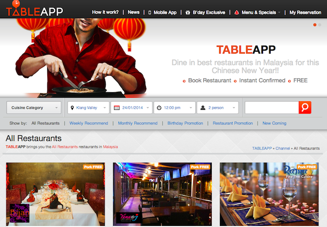 Malaysias Online Restaurant Booking Site Table App Has Served Over - Restaurant table app