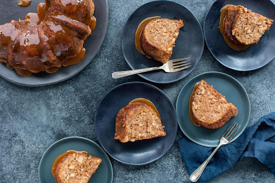 "This is the perfect apple cake for the fall season, but it can be enjoyed any time of the year. It is great to have this Bundt cake in your repertoire as it is easy to make and stays moist and flavorful for 5 days at room temperature, up to 10 days refrigerated. Because it is made with oil, it can be enjoyed at room temperature or cold. The caramel glaze is an optional but fabulous accompaniment. <a href=""https://www.epicurious.com/recipes/food/views/apple-walnut-bundt-cake?mbid=synd_yahoo_rss"" rel=""nofollow noopener"" target=""_blank"" data-ylk=""slk:See recipe."" class=""link rapid-noclick-resp"">See recipe.</a>"