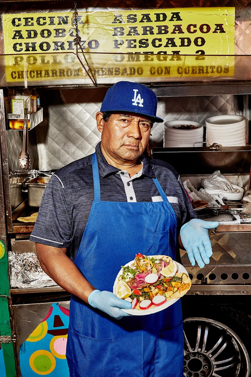 The proprietor of Tacos Quetzalcoatl told us his name was Quetzaltipocatl Pakal, which might be made up, but either way, the guy knows his tacos.