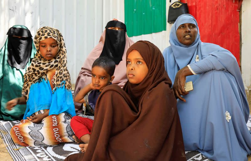 Women whose sons are missing are seen during a Reuters interview in Mogadishu
