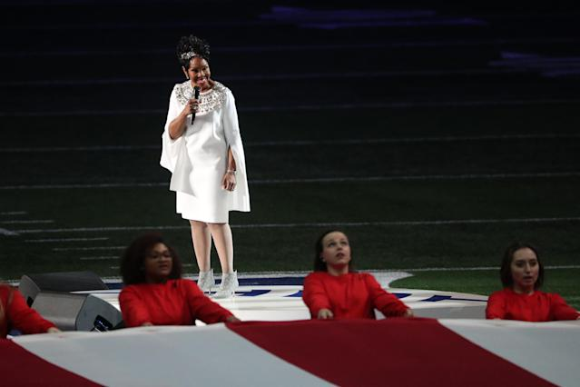 Gladys Knight performed the national anthem prior to Super Bowl LIII. (Getty Images)