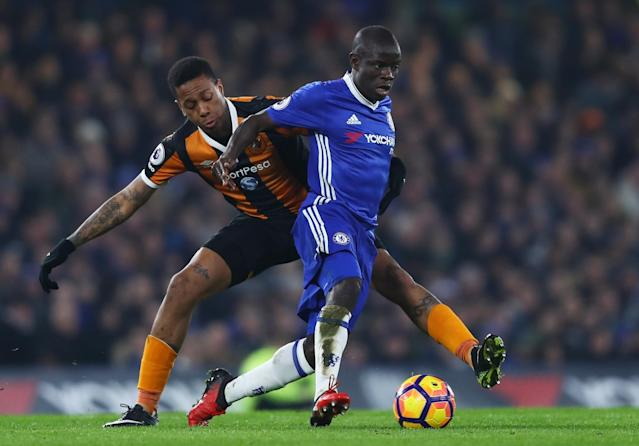 <p>N'Golo Kante drives Chelsea on </p>