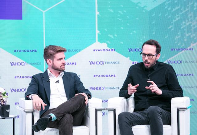 Blockchain CEO Peter Smith (L) and Chain CEO Adam Ludwin at the Yahoo Finance All Markets Summit: Crypto on Feb. 8, 2018. (Gine DePinto/Oath)