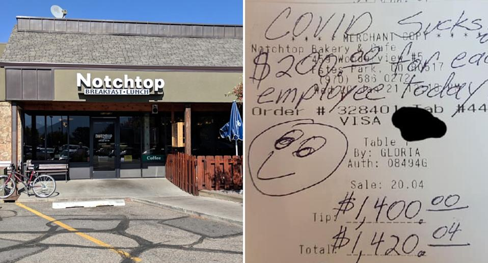The Notchtop Bakery and Cafe (left) in Colorado and a $1400 tip left by a customer (right)
