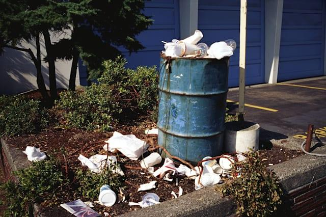 environmental concerns, color, horizontal, exterior, outside, day, sunny, center, environment, overflowing, garbage, can, stuf