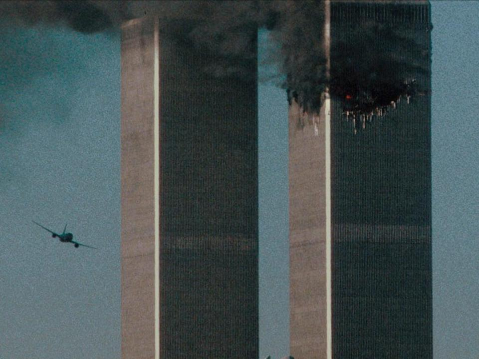 A shot of the second hijacked airplane just seconds before it struck the South Tower in the 9/11 terror attacks (Courtesy of NETFLIX /©NETFLIX 2021)