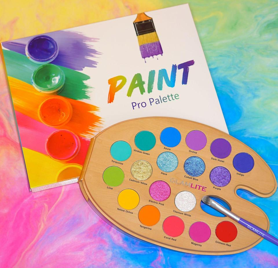 """<p><strong>Paint PRO Palette</strong></p><p>glamlite.com</p><p><strong>$38.00</strong></p><p><a href=""""https://glamlite.com/collections/eyeshadow-palettes/products/paint-pro-palette"""" rel=""""nofollow noopener"""" target=""""_blank"""" data-ylk=""""slk:Shop Now"""" class=""""link rapid-noclick-resp"""">Shop Now</a></p><p>Glamlite is a fun beauty brand inspired by founder Gisselle Hernandez's love for food and bright colors. The brand was also an outlet for Gisselle to practice self-love after dealing with fat-shaming for several years. Some food-inspired bestsellers include the <a href=""""https://www.allure.com/story/glamlite-cosmetics-pizza-eye-shadow-palette"""" rel=""""nofollow noopener"""" target=""""_blank"""" data-ylk=""""slk:Pizza Palette"""" class=""""link rapid-noclick-resp"""">Pizza Palette</a>, <a href=""""https://glamlite.com/collections/eyeshadow-palettes/products/glam-donut-palette-pre-order"""" rel=""""nofollow noopener"""" target=""""_blank"""" data-ylk=""""slk:Glam Donut Palette"""" class=""""link rapid-noclick-resp"""">Glam Donut Palette</a>, and the <a href=""""https://glamlite.com/collections/lips/products/chocolate-popsicle-lip-set"""" rel=""""nofollow noopener"""" target=""""_blank"""" data-ylk=""""slk:Chocolate Popsicle Lip Kit."""" class=""""link rapid-noclick-resp"""">Chocolate Popsicle Lip Kit.</a></p>"""