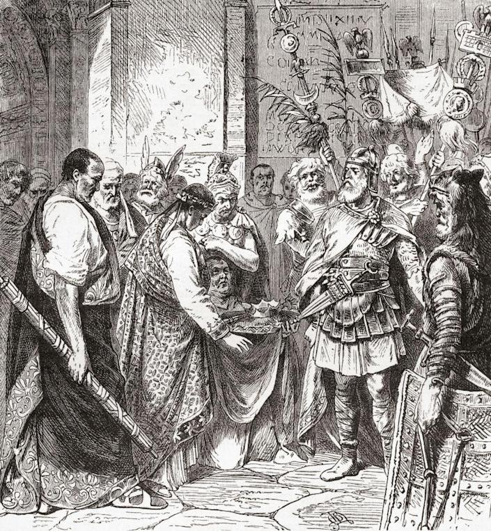 A drawing showing Flavius Odoacer forcing Romulus Augustus to resign in 476 AD.