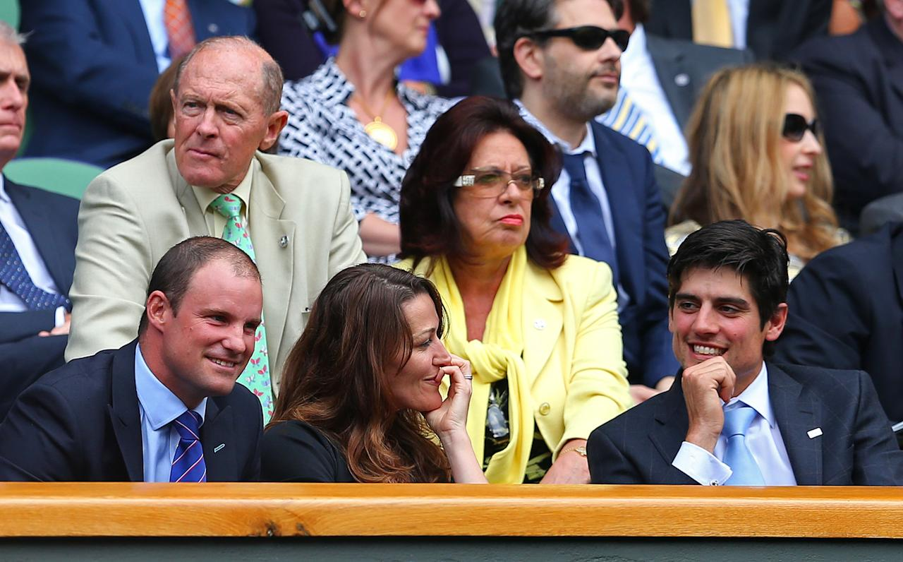 LONDON, ENGLAND - JUNE 28: (L-R) Andrew Strauss, Ruth McDonald the wife of Andrew Strauss and England cricket captain Alastair Cook chat in the Royal Box on day five of the Wimbledon Lawn Tennis Championships at the All England Lawn Tennis and Croquet Club on June 28, 2013 in London, England. (Photo by Julian Finney/Getty Images)