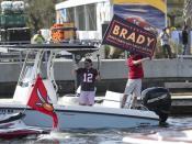 Tampa Bay Buccaneers fans follow a boat parade celebrating their Super Bowl 55 victory over the Kansas City Chiefs in Tampa, Fla., Wednesday, Feb. 10, 2021. (Dirk Shadd/Tampa Bay Times via AP)