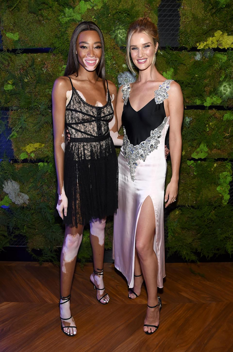 <p>Rosie wore a block colour Christopher Kane dress for the event while Winnie wore Alexander Wang. <em>[Photo: Getty]</em> </p>