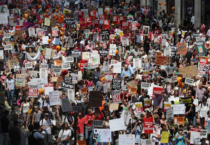 Tens of thousands peopleprotest U.S. President Donald Trump in central London.