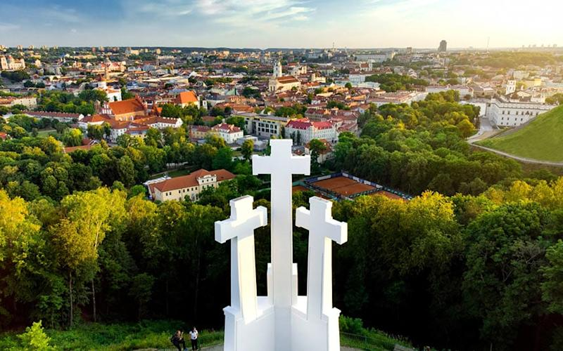 A view of Vilnius from the Hill of Three Crosses - This content is subject to copyright.
